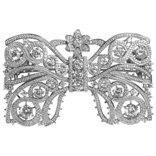 Marie Antoinette Collection Garland Style Large Faux Diamond Rhodium Sterling Silver Bow Pin