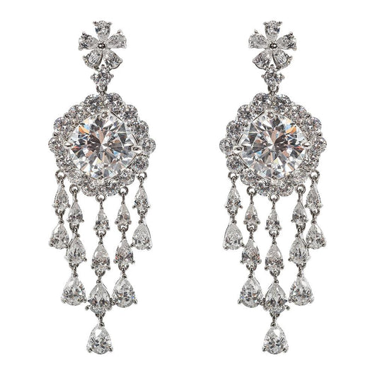 Glamourous Faux Round Diamond Chandeliers Earclips