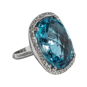 Chic Swiss Blue Faceted Topaz Faux Diamond Sterling Silver Cocktail Ring