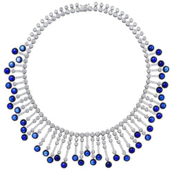 Synthetic Cabochon Sapphire Cubic Zirconia Fringe Sterling Necklace