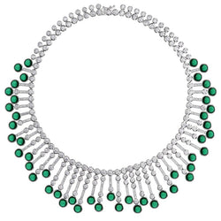 Synthetic Cabochon Emerald Diamond Fringe Sterling Necklace