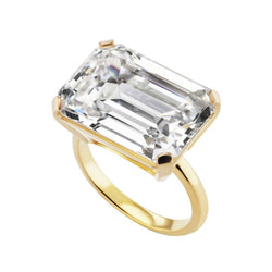 Emerald Cut 15 Carat Cubic Zirconia Vermeil Sterling Ring