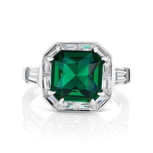 Synthetic Art Deco Style Square Emerald Halo Style Silver Ring