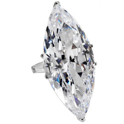 Jackie O 40 Carat Marquise D Color Cubic Zirconia White Gold Ring Copy