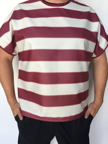 Unisex Crew Neck Short Sleeve Tough Shirt with Stripes # 307SSCS