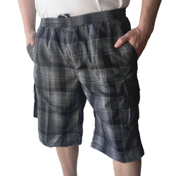 Men's Elastic Waist Plaid Cargo Shorts # 201ECP