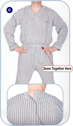 Men's Long Sleeve Broadcloth Pajama Jumpsuit Snaps