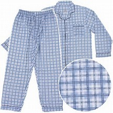 Men's L/S Brodcloth Pajama Jumpsuit with Zipper and Velcro (R) closure # 601J