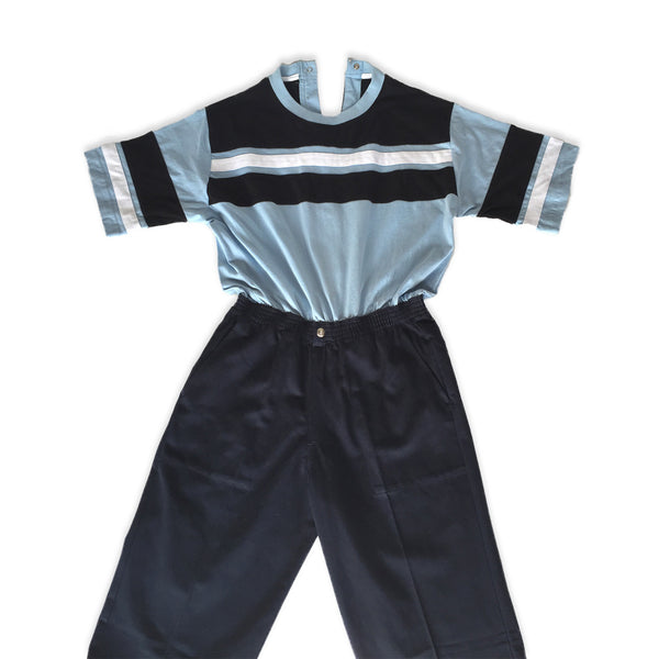 Men's Long Sleeve Crew Neck Ant Strip Jumpsuit with Zipper and Velcro(R) Closure # LScrewjum