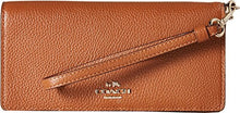 COACH Polished Pebble Leather Slim Wallet - Light Gold/Saddle