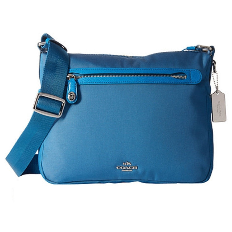 COACH Nylon Canvas Crossbody Bag - Silver / Peacock Blue