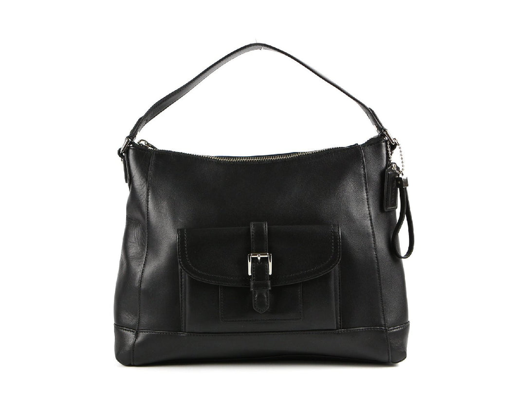 COACH Charlie Leather Hobo Handbag - Black