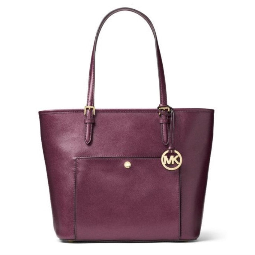MICHAEL KORS Jet Set Saffiano Leather Top-zip Plum Tote Handbag