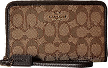 COACH Signature Jacquard Zip Around Wallet Organizer - Light Gold/Khaki/Brown