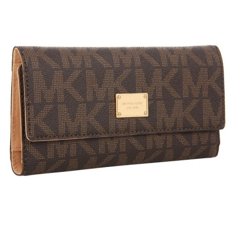 MICHAEL KORS Jet Set Signature Checkbook Wallet