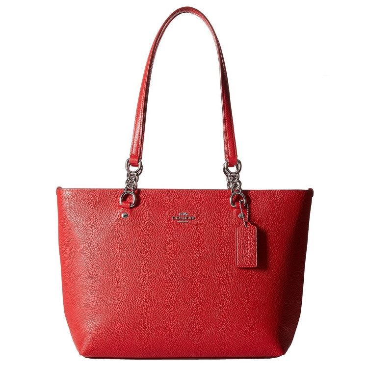 COACH Pebbled Leather Small Sophia Tote - Sliver/True Red