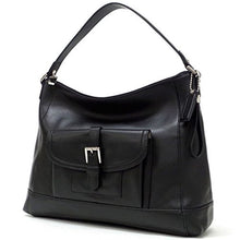 COACH Charlie Leather Hobo Handbag - Silver/Black
