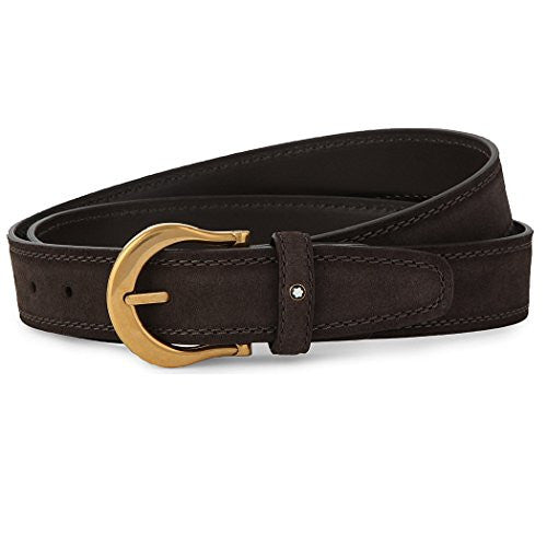 MONTBLANC Vintage Gold Pin Buckle Dark Brown Suede Belt