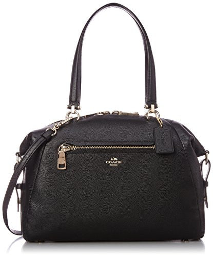 COACH Pebbled Leather Large Prairie Satchel - Light Gold/Black