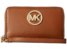 MICHAEL KORS Large Luggage Brown Leather Flat Smart Phone Case Wallet