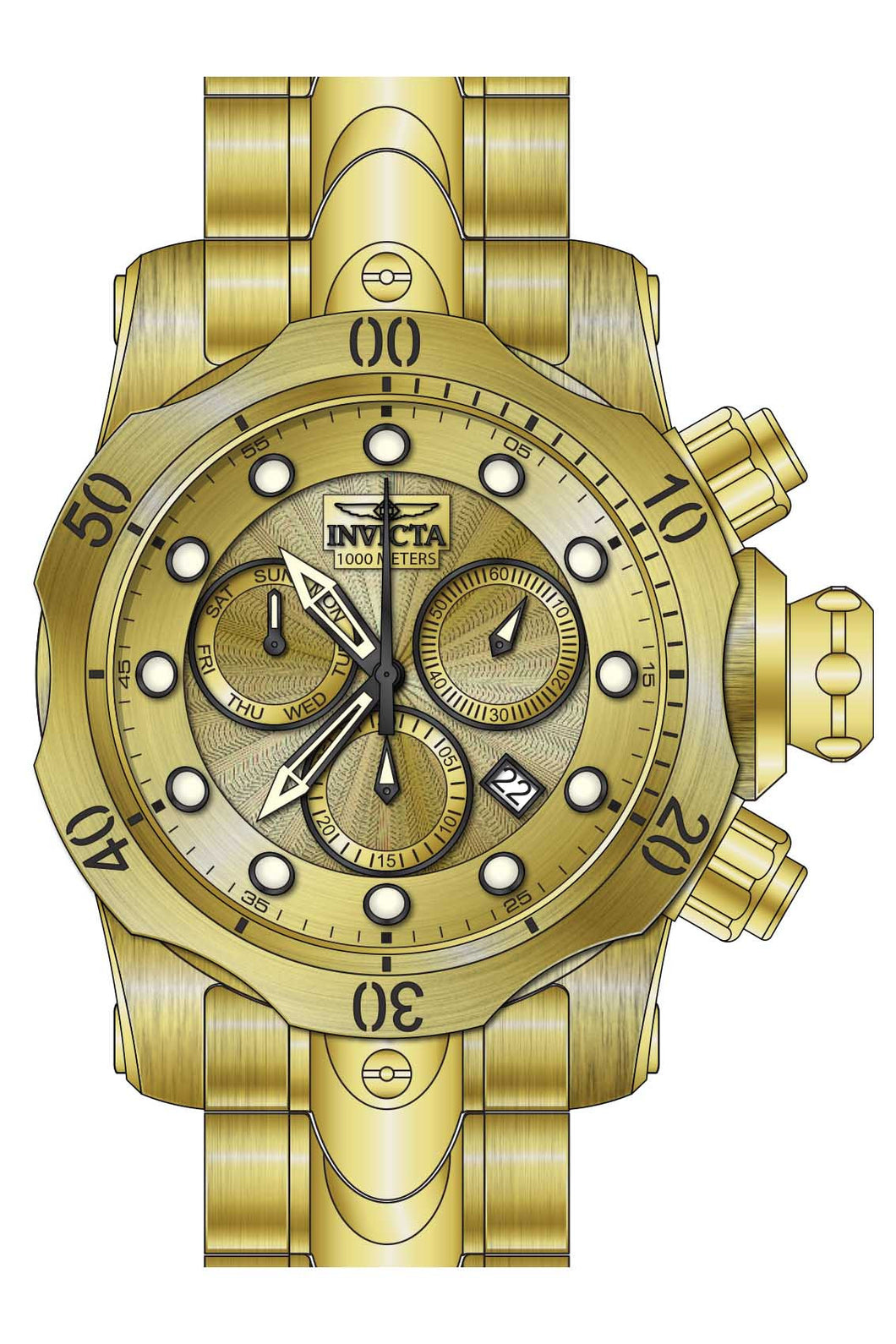 Invicta Men's 23891 Venom Quartz Chronograph Gold Dial Watch