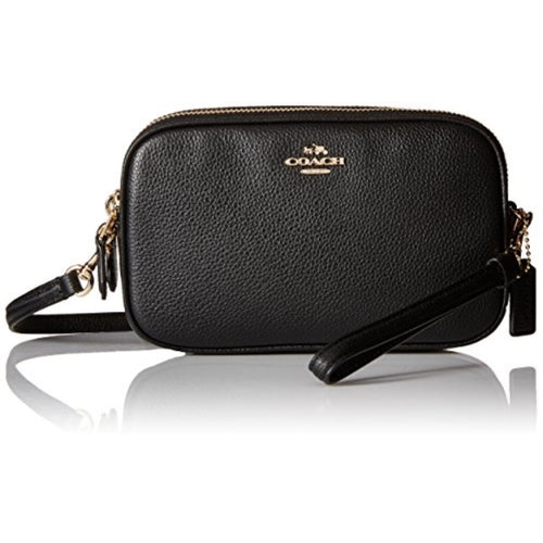 COACH Polished Pebbled Leather Crossbody Clutch - Light Gold/Black