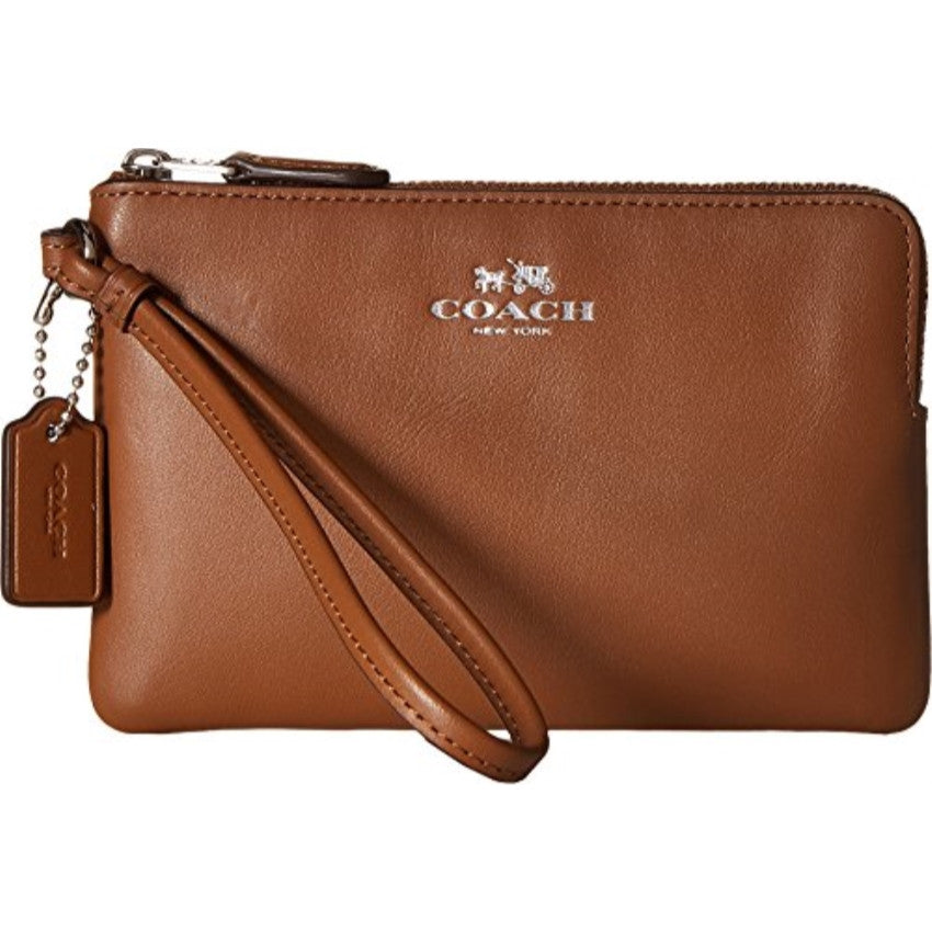 COACH Smooth Calf Leather Corner Zip wristlet - Silver/Saddle