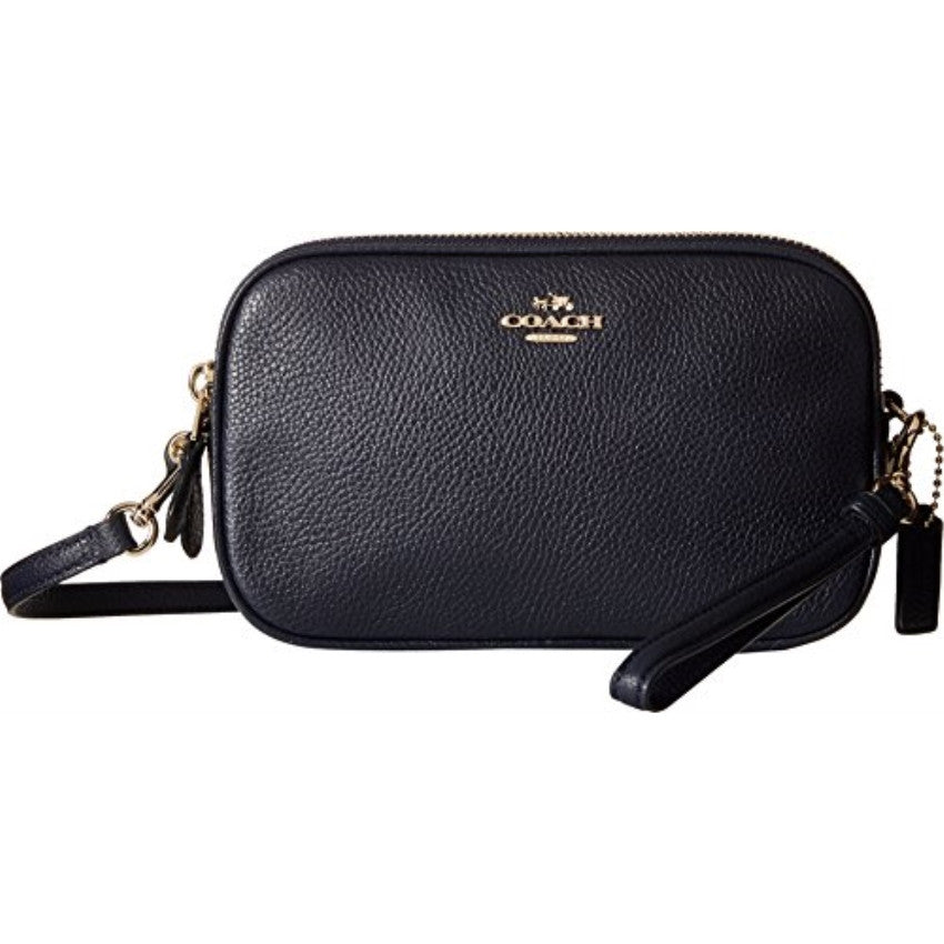 COACH Polished Pebbled Leather Crossbody Clutch - Light Gold/Navy