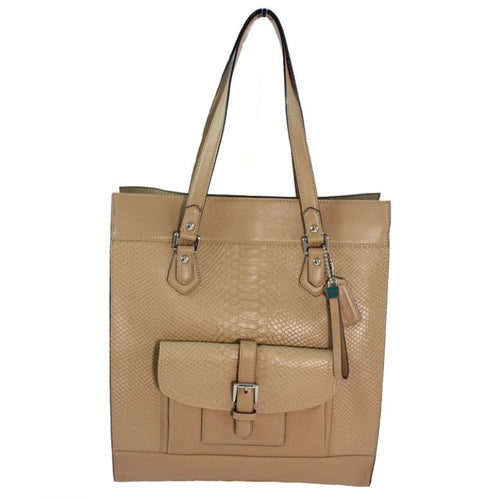 COACH Charlie Embossed Python Leather Tote - Brown