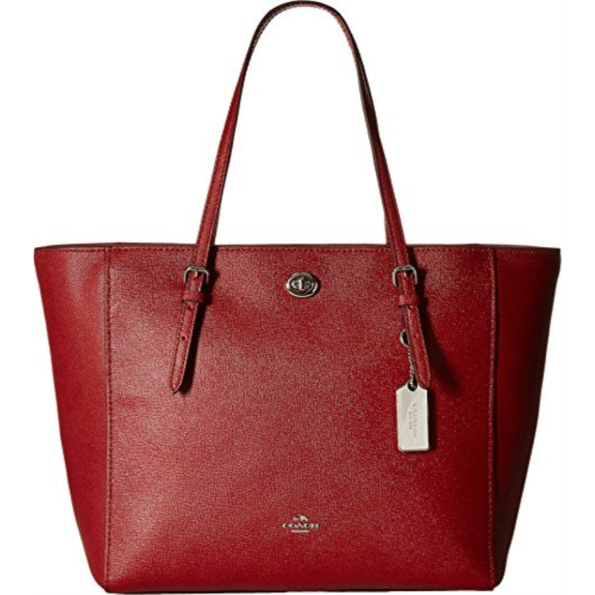 COACH Crossgain Leather Turnlock Tote - Silver/Red Current