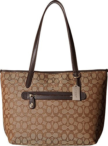 COACH Taylor Tote in Signature Jaquard - Light Gold/Khaki Brown