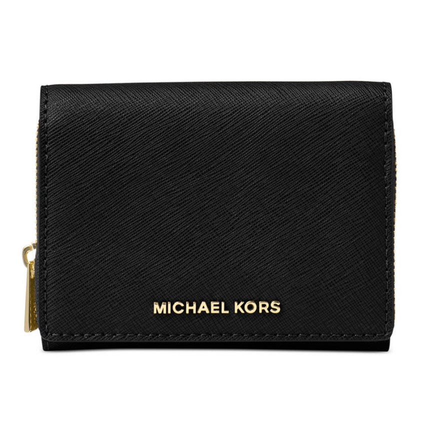MICHAEL KORS Samll Wallet Jet Set Travel Black Zip-around Billfold