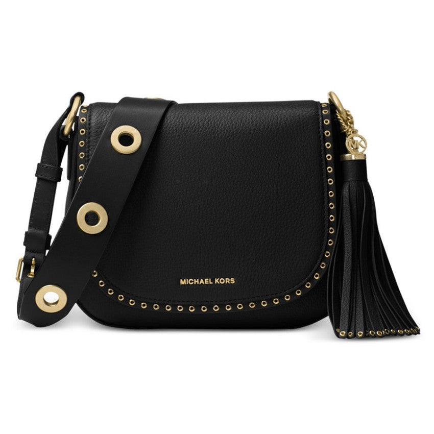 MICHAEL KORS Brooklyn Medium Black Saddle Crossbody Handbag