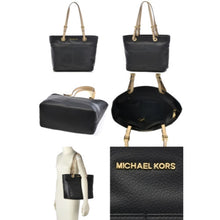 MICHAEL KORS Bedford Black Top Zip Pocket Handbag Tote