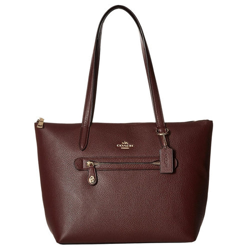 COACH Taylor Pebbled Oxblood Leather Tote Bag