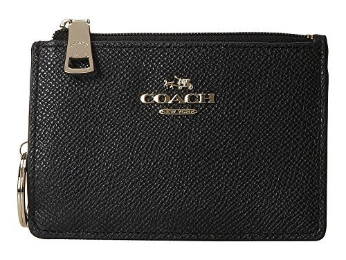 COACH Embossed Textured Leather Mini Wallet - Black