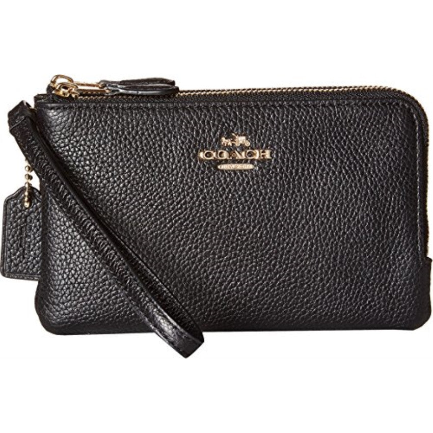 COACH Polished Pebble Leather Double Corner Zip Wristlet Wallet - Light Gold/Black