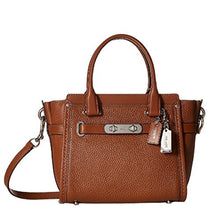 COACH Pebbled Leather Swagger 21 Satchel - Silver/Saddle