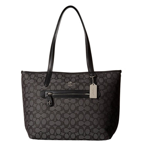 COACH Taylor Tote in Signature Jaquard - Silver/Black Smoke/Black