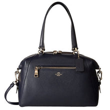 COACH Pebbled Leather Large Prairie Satchel - Light Gold/Navy