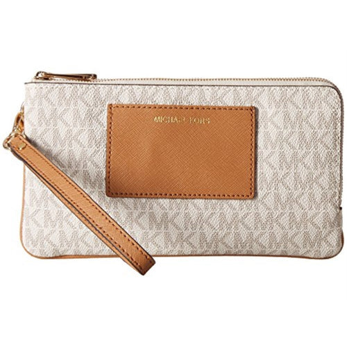MICHAEL KORS Large Double Zip Vanilla/Acorn Wristlet with Pocket
