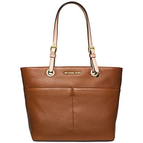 MICHAEL KORS Bedford Luggage Brown Top Zip Pocket Handbag Tote