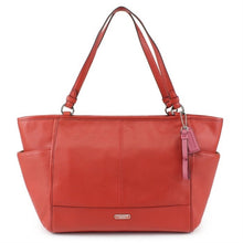 COACH Park Leather Carryall Tote Shoulder Bag - Hot Red
