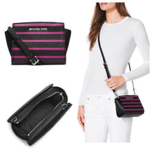 MICHAEL KORS Selma Stripe Saffiano Leather Crossbody Handbag