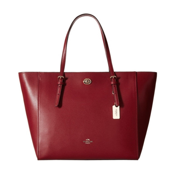 COACH Crossgrain Leather Turnlock Tote - Light Black Cherry