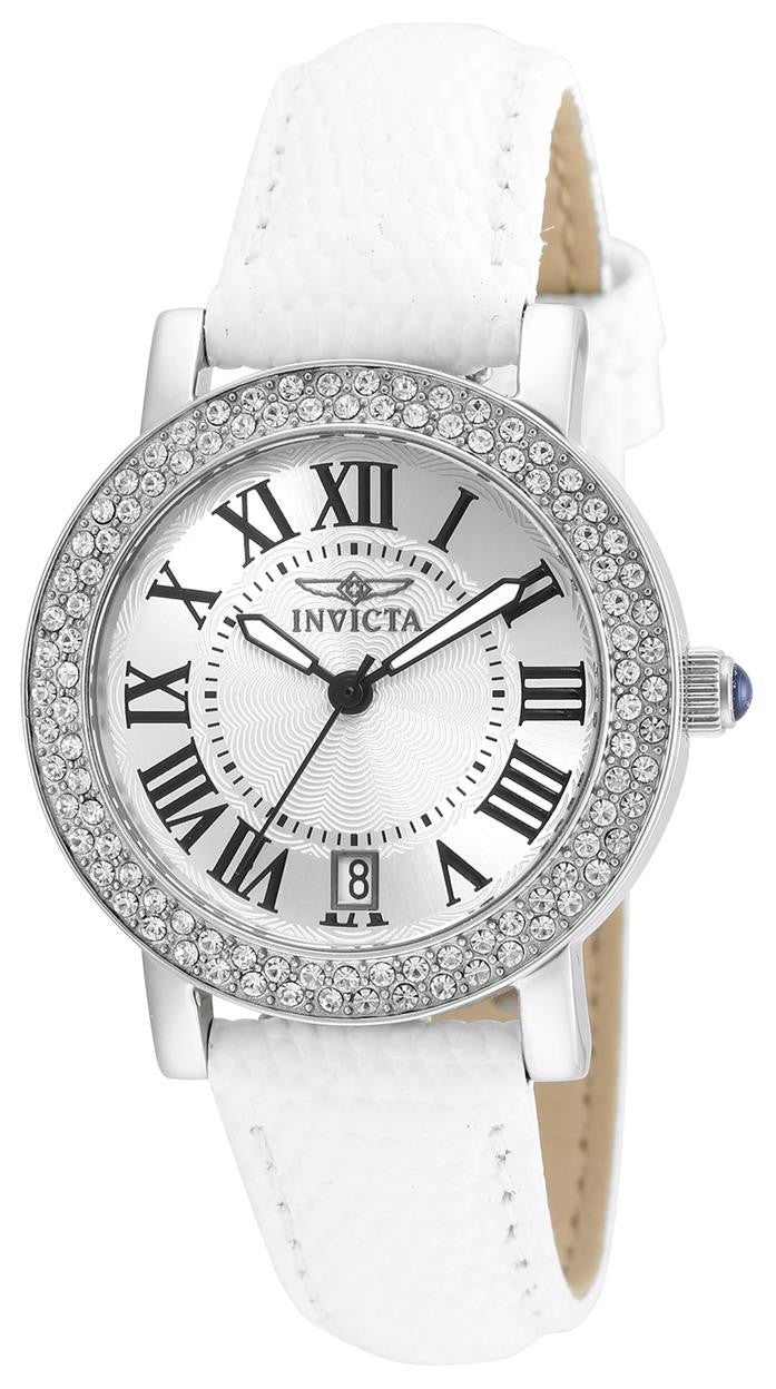 Invicta Women's 'Angel' Quartz Stainless Steel and Leather Casual Watch, Color:White (Model: 21996)