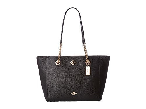 COACH Polished Pebble Small 27 Turnlock Chain Tote - Light Gold/Black