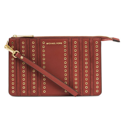 MICHAEL KORS Brick Medium Brooklyn Grommet Wristlet