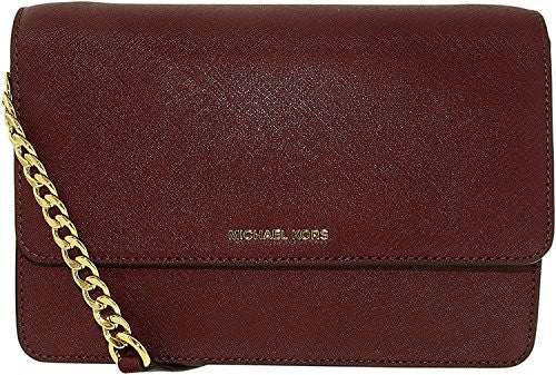 MICHAEL KORS Daniela Large Saffiano Leather Plum Crossbody Handbag
