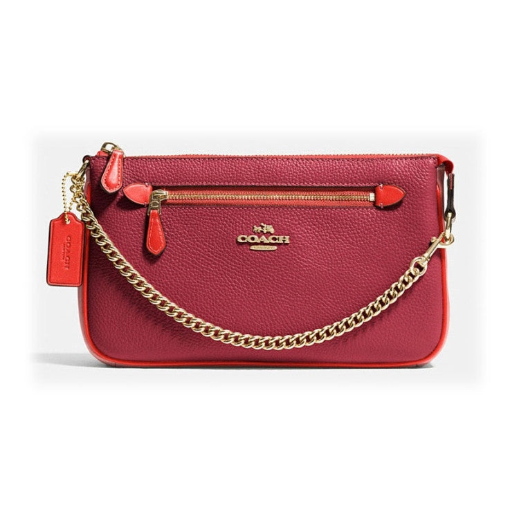COACH Colorblock Pebbled Leather Nolita 24 - Light Gold/Black Cherry